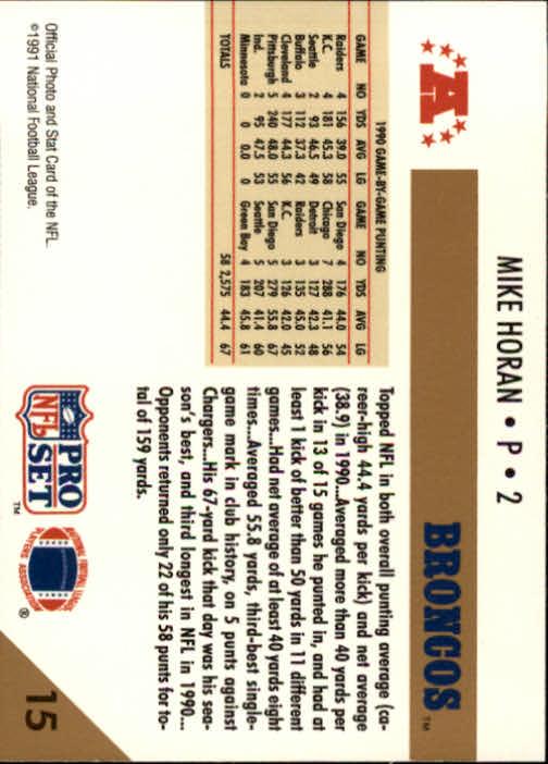 1991 Pro Set #15 Mike Horan/NFL Punting Leader back image