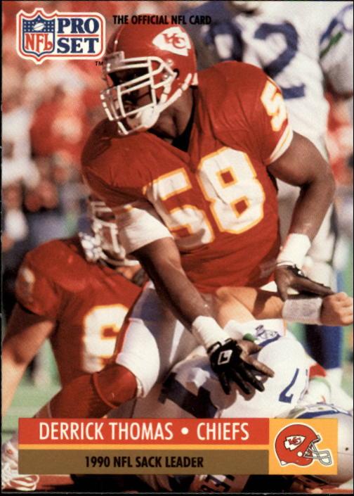 1991 Pro Set #19B Derrick Thomas COR/NFL Sack Leader/(Chiefs helmet on front)