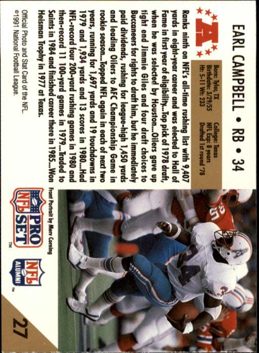 1991 Pro Set #27 Earl Campbell HOF back image