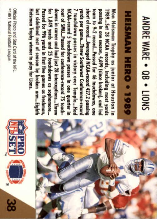 1991 Pro Set #38 Andre Ware HH back image