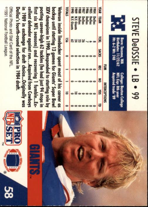 1991 Pro Set #58 Steve DeOssie back image