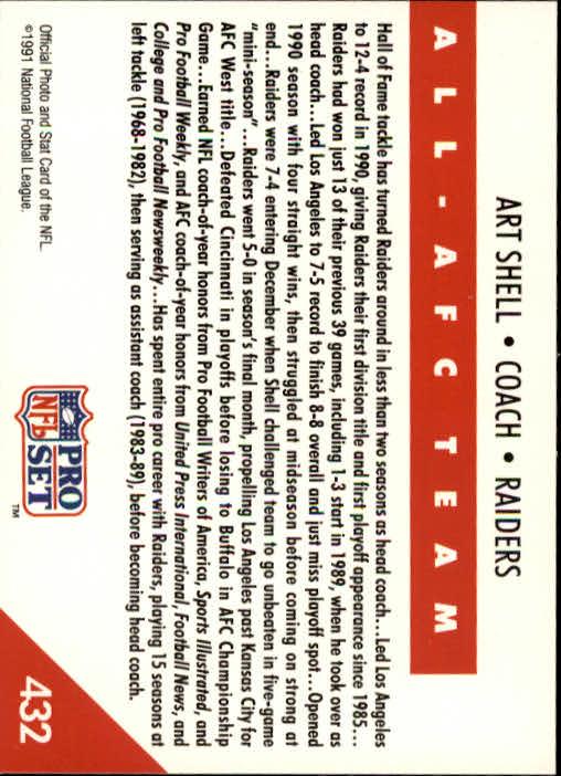 1991 Pro Set #432 Art Shell CO AFC back image