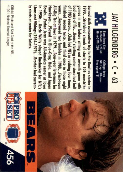 1991 Pro Set #456 Jay Hilgenberg back image