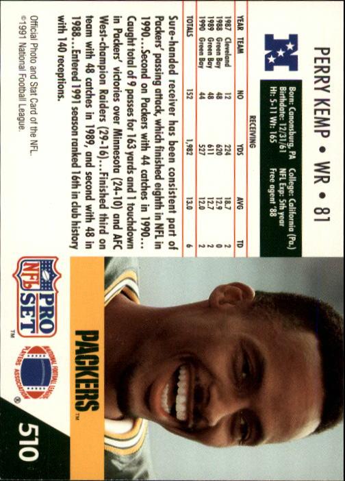 1991 Pro Set #510 Perry Kemp back image