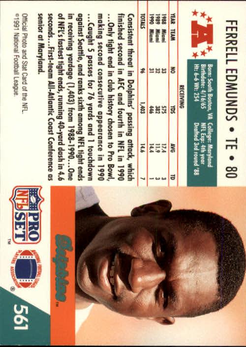 1991 Pro Set #561 Ferrell Edmunds back image