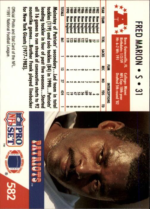 1991 Pro Set #582 Fred Marion back image