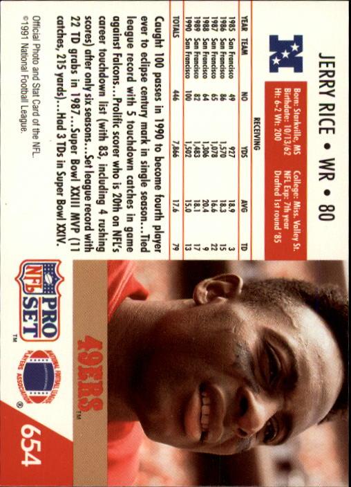 1991 Pro Set #654 Jerry Rice back image