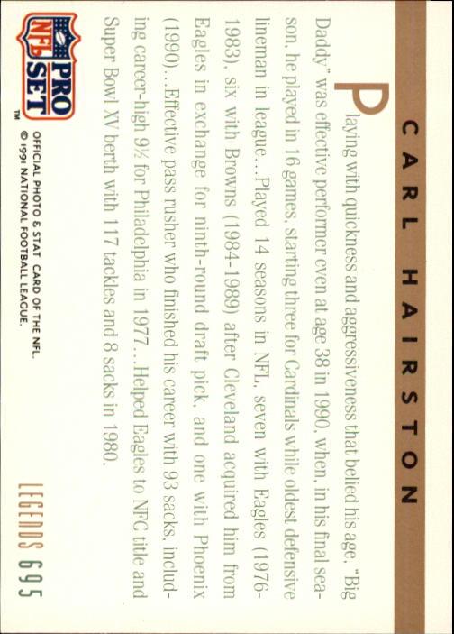 1991 Pro Set #695 Carl Hairston LEG back image