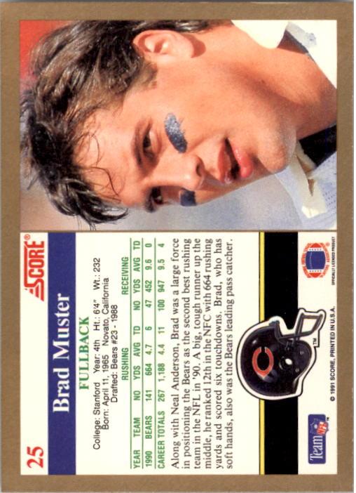 1991 Score #25 Brad Muster back image
