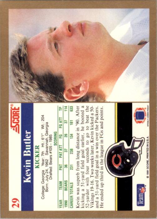 1991 Score #29 Kevin Butler back image