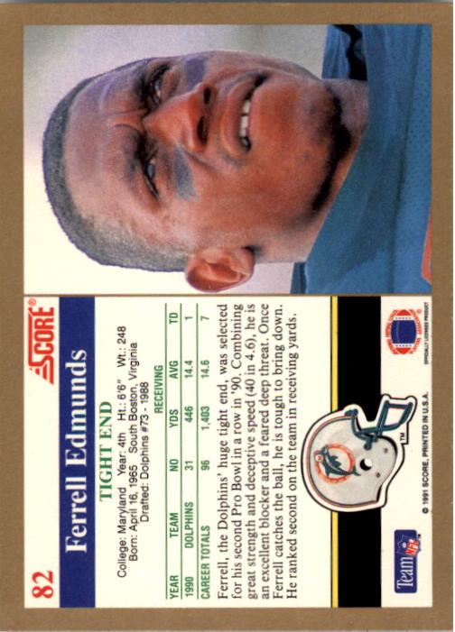 1991 Score #82 Ferrell Edmunds back image