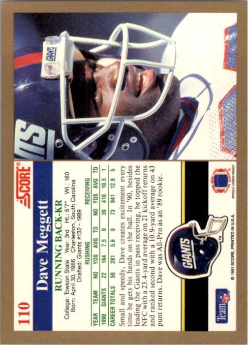 1991 Score #110 Dave Meggett back image