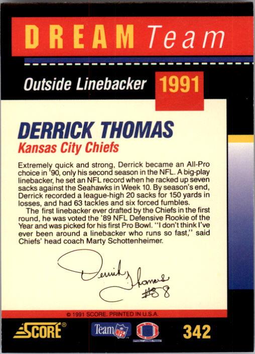 1991 Score #342 Derrick Thomas DT back image