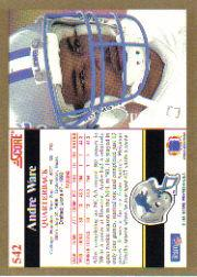 1991 Score #542 Andre Ware back image