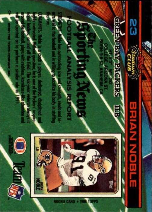 1991 Stadium Club #23 Brian Noble back image