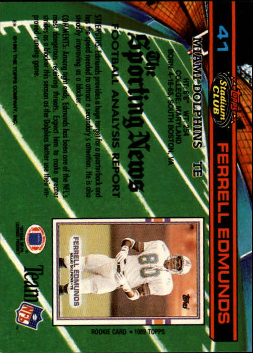 1991 Stadium Club #41 Ferrell Edmunds back image