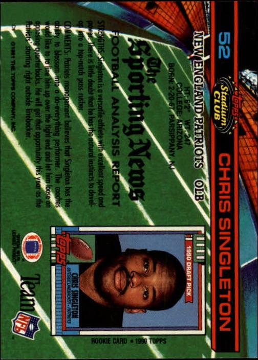 1991 Stadium Club #52 Chris Singleton back image