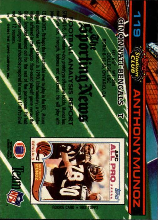 1991 Stadium Club #119 Anthony Munoz back image