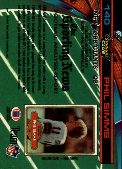 1991 Stadium Club #140 Phil Simms back image