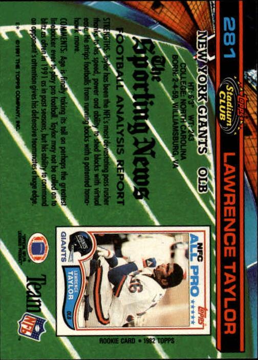 1991 Stadium Club #281 Lawrence Taylor back image