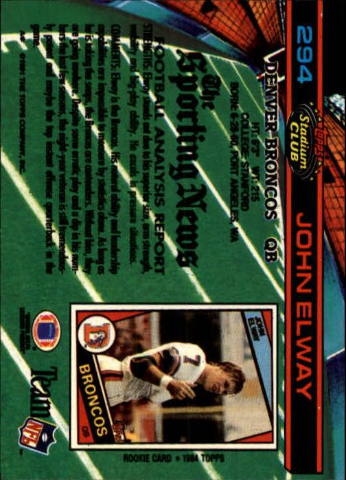 1991 Stadium Club #294 John Elway back image