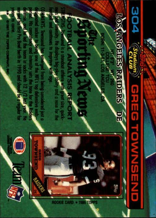 1991 Stadium Club #304 Greg Townsend back image