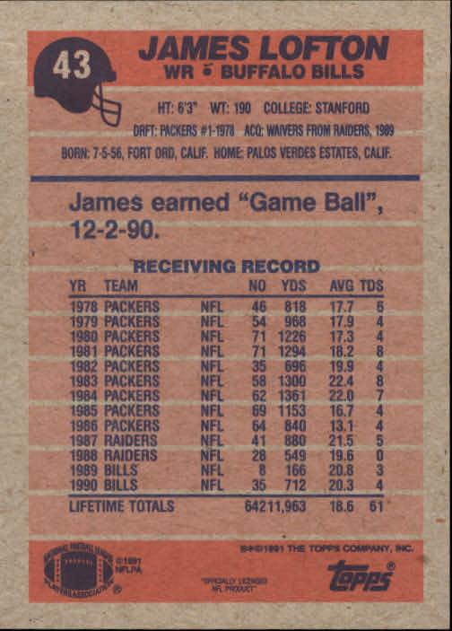 1991 Topps #43 James Lofton back image