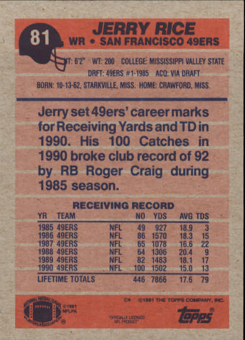 1991 Topps #81 Jerry Rice back image