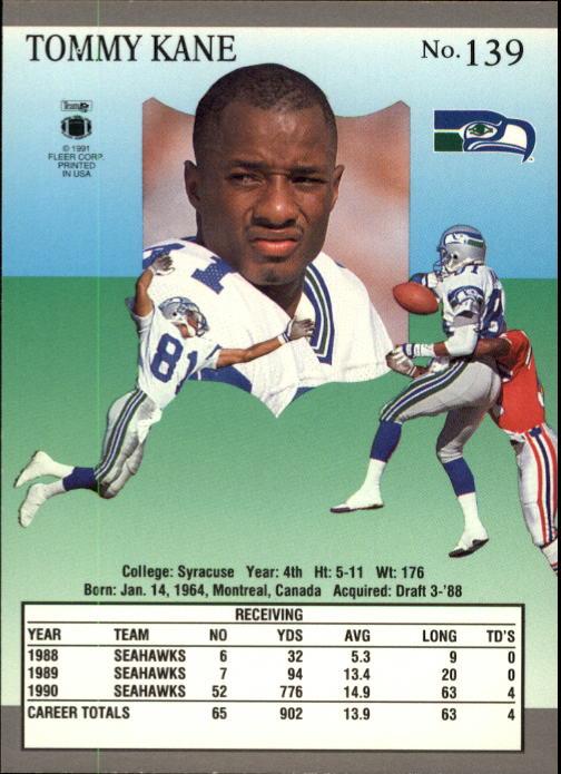 1991 Ultra Football Card 139 Tommy Kane Ebay