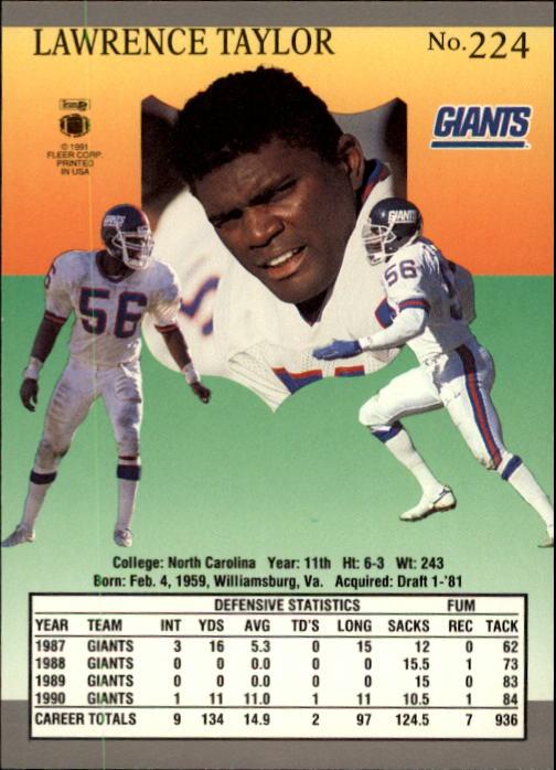 1991 Ultra #224 Lawrence Taylor back image