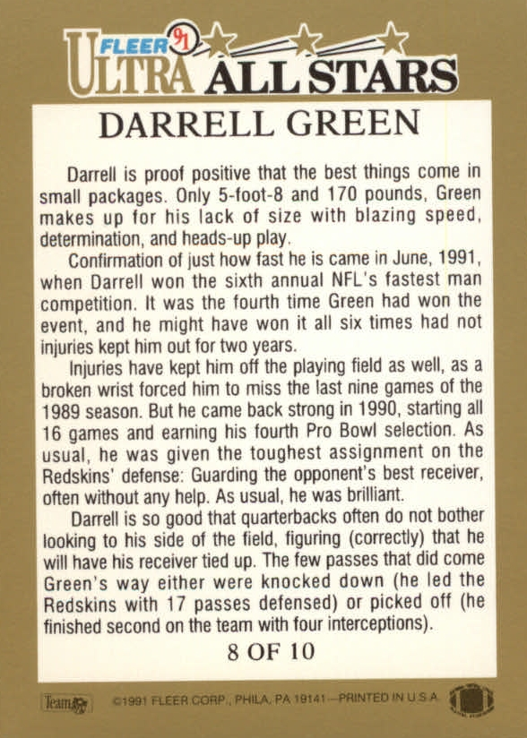 1991 Ultra All-Stars #8 Darrell Green back image