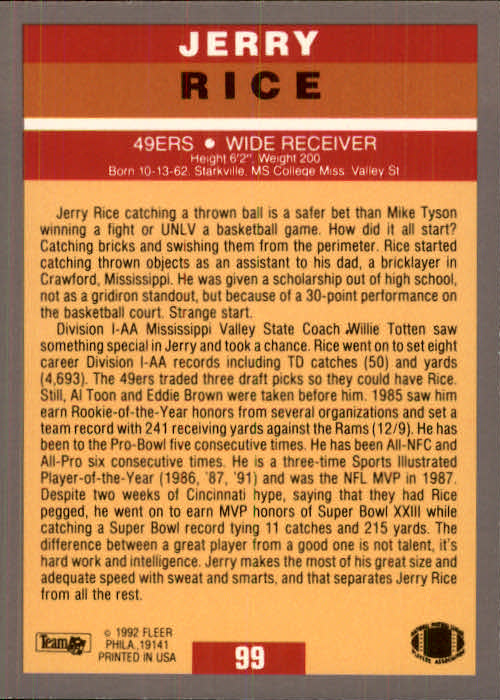 1991 Ultra Update #99 Jerry Rice/1991 Pro-Visions back image