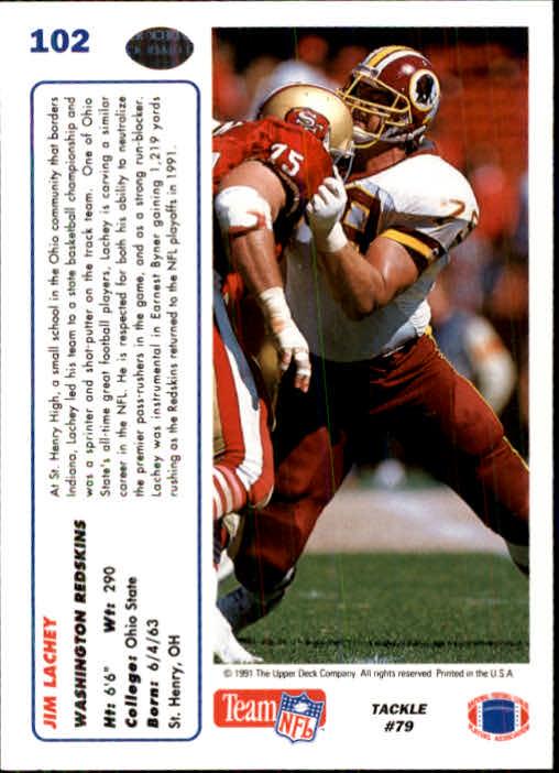 1991 Upper Deck #102 Jim Lachey back image