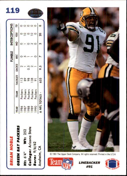 1991 Upper Deck #119 Brian Noble back image