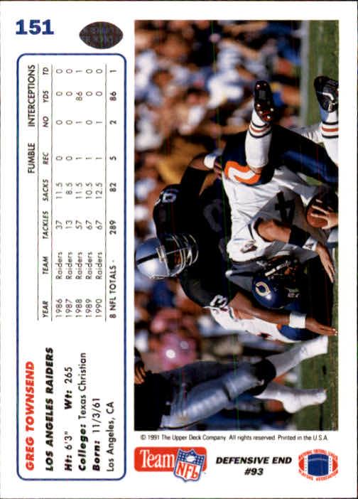 1991 Upper Deck #151 Greg Townsend back image