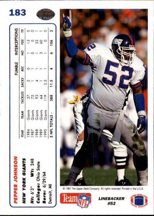 1991 Upper Deck #183 Pepper Johnson back image