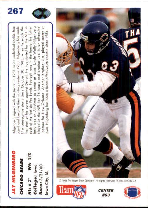 1991 Upper Deck #267 Jay Hilgenberg back image
