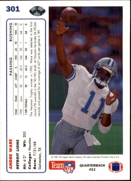 1991 Upper Deck #301 Andre Ware back image