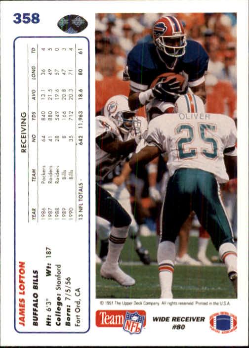 1991 Upper Deck #358 James Lofton back image