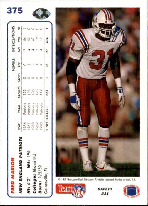 1991 Upper Deck #375 Fred Marion back image