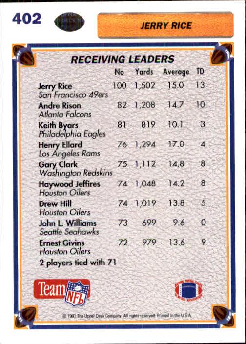 1991 Upper Deck #402 Jerry Rice SL back image