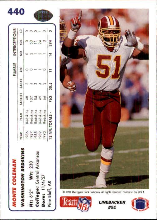 1991 Upper Deck #440 Monte Coleman back image