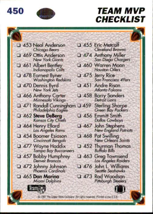 1991 Upper Deck #450 Steve DeBerg/Dan Marino/Team MVP CL 453-473 back image
