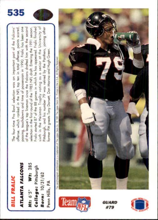 1991 Upper Deck #535 Bill Fralic back image