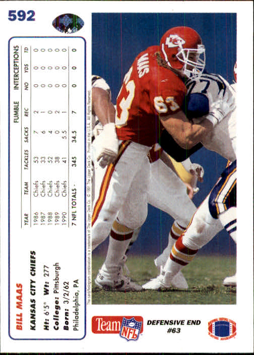 1991 Upper Deck #592 Bill Maas back image