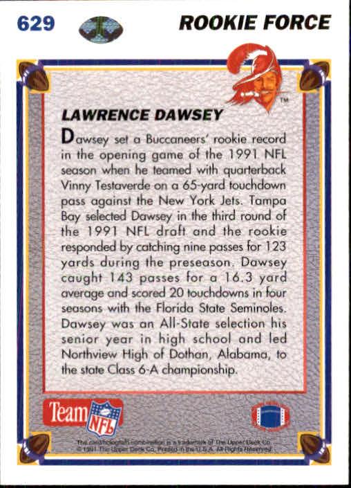 1991 Upper Deck #629 Lawrence Dawsey RC back image
