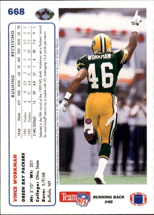 1991 Upper Deck #668 Vince Workman RC back image