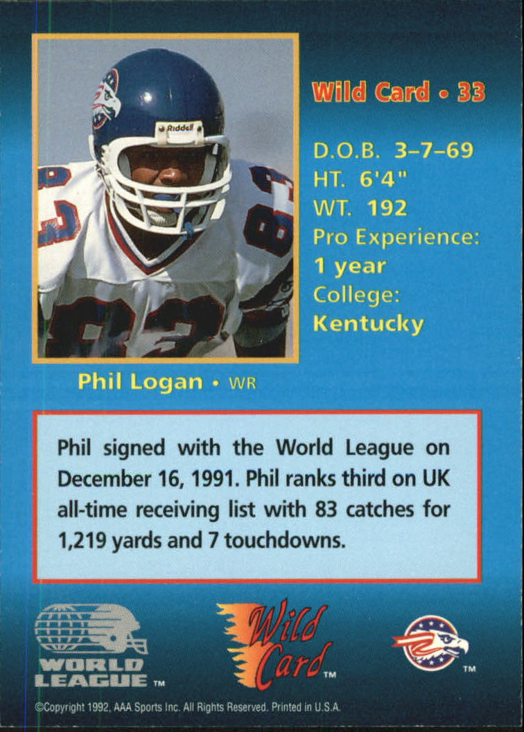 1992 Wild Card WLAF Football #100 Philip Doyle Birmingham Fire Official World League of American Football Trading Card From The Wild Card Company in Raw Condition NM or Better