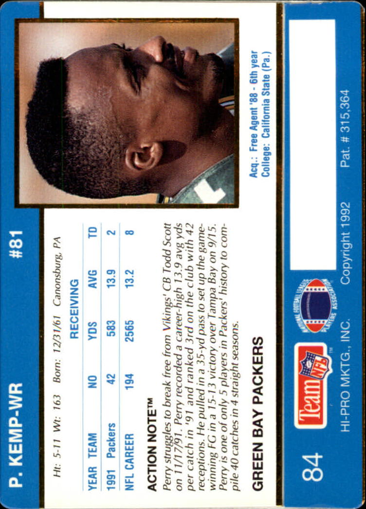 1992 Action Packed #84 Perry Kemp back image