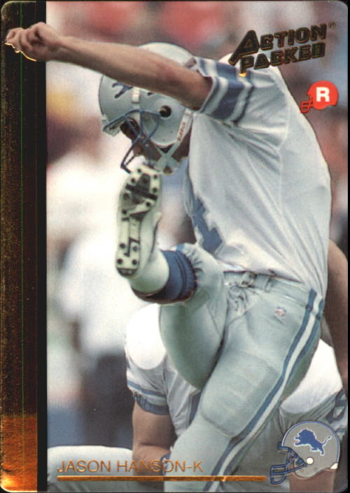 1992 Action Packed Rookie Update #8 Jason Hanson RC